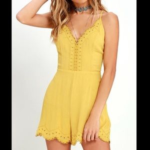 Lush Yellow Embroidered Romper